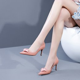 Shining Patent Leather Shoes Australia - Fairy2019 High-heeled Flower Fund Fine With Cattle Patent Single Shoe Shine Shallow Mouth Sharp Genuine Leather Women's Shoes