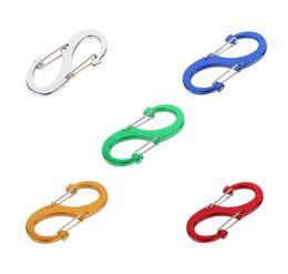 Wholesale Black S Hooks Australia - Zinc Alloy EDC S Shape Type Buckle Double Gated Carabiner Key Ring Clip Hook Silver Black Color 5*2.2CM Bearing 4.5KG