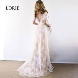 $enCountryForm.capitalKeyWord NZ - Lorie Boho Wedding Dress 2019 V Neck Cap Sleeve Lace Beach Wedding Gown Cheap Backless Custom Made A-line Bride Dresses Y19072901