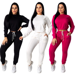 $enCountryForm.capitalKeyWord NZ - Winter Womens Tracksuits Two Piece Outfits Long Sleeve Short Crop Top Pocket Long Pant Active 2 Piece Pants Set White Black Rose Red