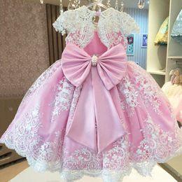 White Communion Dresses Short Australia - Pink White Appliques Pearls Girl Dress with Big Bow O-neck Knee Length Short Sleeves Custom Made Princess Flower Girl Dresses