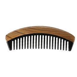 ox hair comb Australia - Fashion New Comb 10pcs lot Green Sandalwood Ox Horn wide toothed hair care styling grooming detangling curly hair men grooming facial beard