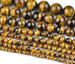 Gros naturel tigre oeil rond perles de pierre en vrac pour la fabrication de bijoux Diy Bracelet collier 4/6/8 / 10mm brin 15 '' en Solde