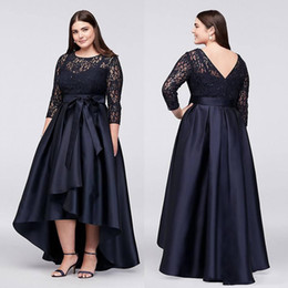 $enCountryForm.capitalKeyWord Australia - Black Plus Size High Low Formal Dresses With Half Sleeves Sheer Jewel Neck Lace Evening Gowns A-Line Cheap Short Prom Dress
