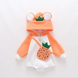 three dimensional clothes Canada - New Foshan children's wear baby thickened fruit three-dimensional printing slant straddle package hood long sleeve one-piece clothes bag fa