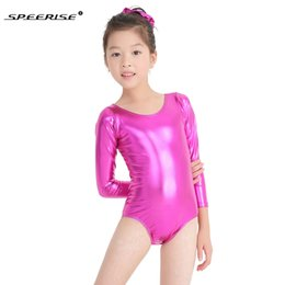 02ad84c89c7c Hotsale Ballet Skate Leotards For Girls Metallic Gymnastics Rombers Long  Sleeve Gold Leotard Spandex Costume Kids Dance Wear Q190604