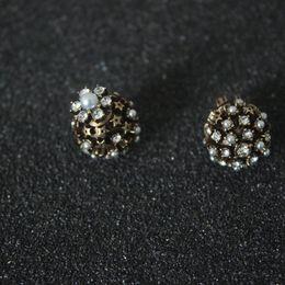 8ee63dc34 Ball Stud Earrings Diamonds Australia - Natural pearl diamond earring studs  women design luxury copper ball