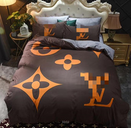 New Simple home bedding soft and comfortable flower letter printing Mocha cotton four-piece set of 4 sets 9088 on Sale