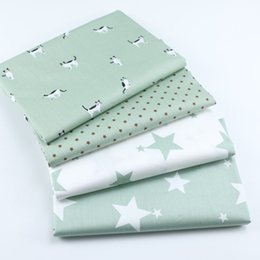 Discount green patchwork bedding - 160cm*50cm cotton cloth GREEN cartoon CAT small stars white green stars fabric for DIY crib bedding cushion patchwork fa