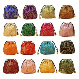 $enCountryForm.capitalKeyWord NZ - 11x11cm Drawstring Gifts Bags Silk Bag Small Brocade Jewelry Packaging Pouches Chinese Style Flower Pattern Candy Coin Pouch