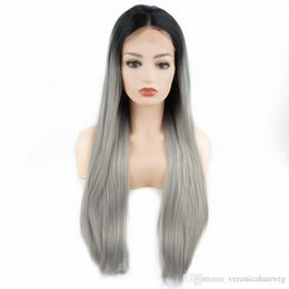 lace front grey wig 2019 - Hot Sexy Long Straight Wigs 24inch Dark Root Black Grey Ombre Half Hand Tied Heat Resistant Glueless Synthetic Lace Fron
