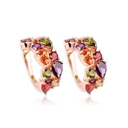 a9bf75e6b Luxury Rose Gold color Mona Lisa Stud Earrings For Women with Colorful  Zircon Crystal Wedding Jewelry Earrings