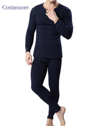 Wholesale mens thermal long johns set for sale - Group buy Coromose Winter Mens Warm Thermal Underwear Male Long Johns Sexy Black Thermal Underwear Sets Thick Plus Velet Long Johns