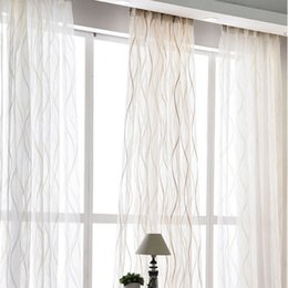 new curtains designs NZ - New Europe Style Fashion Design Printed Striped Curtain Tulle Fabrics for Bedroom Window