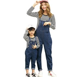 Mother Daughter Clothes Long Sleeve Australia - Spring Summer Family Matching Outfits Fashion Mother And Daughter Clothes Set Long Sleeve Striped T Shirt + Denim Overalls 2pcs J190514