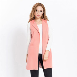 wool vest fashion Australia - Fashion-Women Autumn Spring Wool Blend Vest Waistcoat Lady Office Wear Long Waistcoat Women Coat Casual Sleeveless Vest Jacket Plus Size