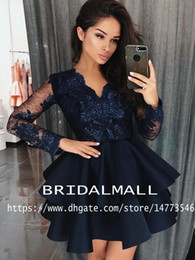 Chinese  Navy Blue Appliqued Lace Cocktail Dresses 2019 Ruffles Satin Homecoming Dress Graduation For Teens 8th Grade Party Gowns Short Prom Dresses manufacturers