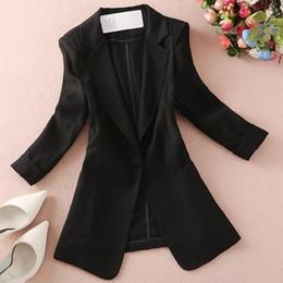 Quarter Suits Australia - Linen Blazer 2019 Slim Small Suit Blazers Women New Fashion Three Quarter Sleeve Spring Blazer Office Lady Plus Size