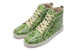 designer shoe lace pattern NZ - Star with the paragraph 2019 designer fashion green gray snake pattern lace-up shoes Gaobang men's luxury men's shoes 39-45 wholesale