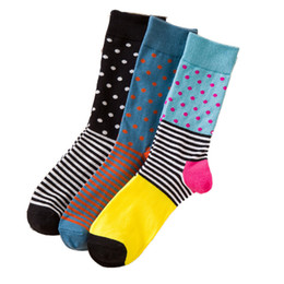 60e83a6fbbf Men Cotton Socks New Styles 5 Pairs lot Black Dot Stripe Color Business  Casual Man Crew Socks Breathable Autumn Winter For Male