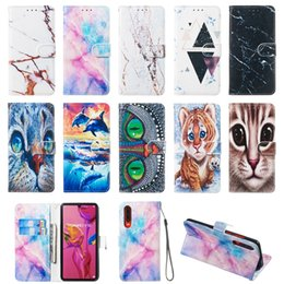owl iphone cases Australia - 3D Marble Stone Leather Wallet Case For Iphone XS MAX XR X 8 7 6 5 Samsung S10 5G S10e Cat Owl Dolphin Ocean Granite Rock Luxury Flip Cover