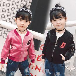Girls Baseball Uniforms NZ - Children's Clothing 2019 Female Child Autumn Outerwear Casual Jacket Girls Cardigan Spring Baseball Uniform