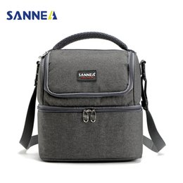 cooler handbags Australia - Sanne 7l Double Decker Cooler Lunch Bags Insulated Solid Thermal Lunchbox Food Picnic Bag Cooler Tote Handbags For Men Women C19041601
