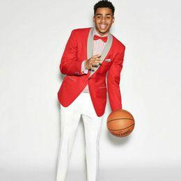 $enCountryForm.capitalKeyWord Australia - Red Men Suits for Wedding Suits White Pants Man Prom Blazer Groom Wedding Tuxedos Ternos Slim Fit Costume Homme Trajes de Hombre 2Piece