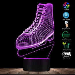 Christmas Gift Shoes Australia - 3D Ice Skating LED Night Light Ice Skate Shoes Shape Acrylic Light color Changing Atmosphere Table Lamp Ice Skater Lover Gift