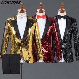 8 Photos Acheter en ligne Costumes de mariage rouge pour hommes-Hommes  Basculant Paillettes Costumes Noir Rouge cf98083b53b