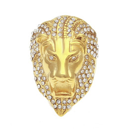 $enCountryForm.capitalKeyWord Australia - Iced out Lion head Rings For Mens Hip Hop crystal Rhinestone Gold animal Sign Rings women Rapper Hiphop Jewelry Gift