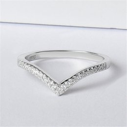 Discount v shape rings for women - 92.5 micro setting V shape customized available silver ring DIY silver rings for women