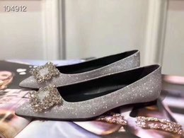 crystal rhinestones flat shoes NZ - Brand Women Stain Dress Wedding shoe Office Lady Silver Glitter moccasins Loafers Fashion Pointed Toe Rhinestone Flats Crystal Oxfords,35-41