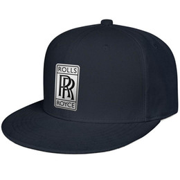 Flat Rolled UK - Womens Mens Flat-along Adjustable Rolls Royce Logo Hip-Hop Cotton Baseball Hat Summer Hats Flat Top Hat Airy Mesh Hats For Men Women Black