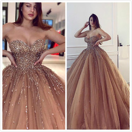 Sweetheart Beaded Evening Tulle Champagne Australia - Champagne Luxurious 2019 Sexy Evening Dresses Sweetheart Beaded Crystals Tulle Prom Dresses Charming Formal Party Bridesmaid Pageant Gowns