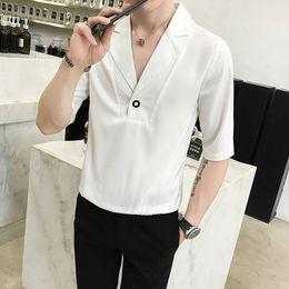 Fitted V Neck T Shirts Australia - Man Short Sleeve T Sleeve Fashion Men's white Shirt V-neck camisa social masculina slim fit casual shirts streetwear Top