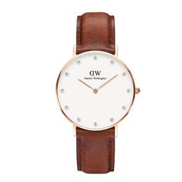 Designer Watch Straps UK - Top DW Classy Womens Designer Luxury Watches 34mm 26mm Fashion Real Leather Strap Daniel Wellington Diamond Wristwatch Women Casual Gift