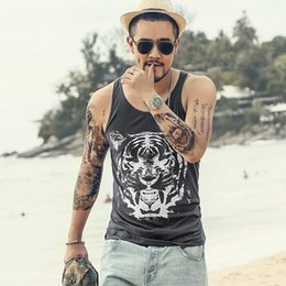 $enCountryForm.capitalKeyWord Australia - Men Summer Slim Fit Hip Hop Casual Printed Tiger New Beach Tank Tops Men O Neck Quick Dry Undershirt Sleeveless SingletsT646