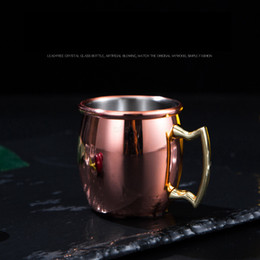 solid copper moscow mule mugs Australia - 60ml Moscow mini glass shot mugs stainless steel cocktail cup Moscow mule wine beer small copper Feeding new cup L-JJA3185