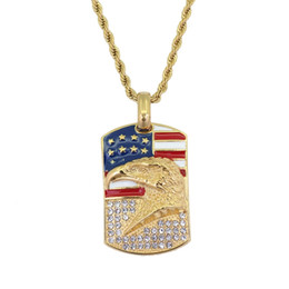 $enCountryForm.capitalKeyWord UK - hip hop USA flag eagle diamonds pendant necklaces for men women American Stainless steel luxury necklace Cuban chain dog tag jewelry