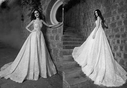 Best elegant gowns online shopping - Elegant White Zuhair Murad Wedding Dresses Full Lace Sheer Neck Puffy Sexy backless country Beach Bridal Gowns romantic best Boho Bride