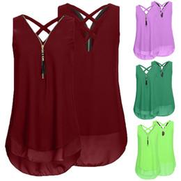 $enCountryForm.capitalKeyWord Australia - Women Loose Sleeveless Tank Top Cross Back Hem Layed Zipper V-Neck T Shirts Tops Womens Sexy Vest Fashion Camisole coloete5