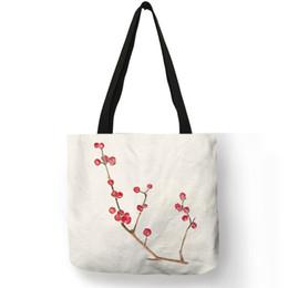Pretty Cell Phones Australia - Pretty Bags For Women 2019 Simple Colorful Flower Prints Tote Bag Eco Linen Fabric Fashion Decorative Shopping Travel Handbag