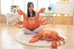 Vente en gros [TOP] 90 cm Très mignon simulation crabe en peluche jouet en coton PP doux océan animal plage crabe poupée modèle canapé oreiller enfants cadeau