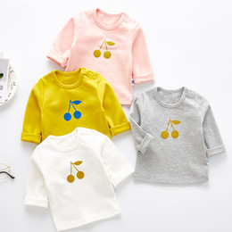 cute baby white t shirt UK - Baby Girls T Shirts Brand Autumn Cute Cherry Print Cotton Long Sleeve Kids T Shirt Casual Tops Princess Children's Clothing