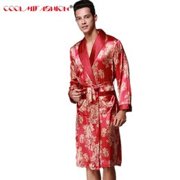 Men Sexy Bathrobe Brand Robes Faux Silk Men s Sleepwear Spring Summer Style  Long Sleeved Home luxurious Clothing Print Robe Male 255f6c5b5