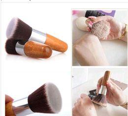$enCountryForm.capitalKeyWord Australia - NEW cosmetics Pro Flat Top Buffer Bamboo Wooden Liquid Foundation Powder Bronzer Makeup Brush