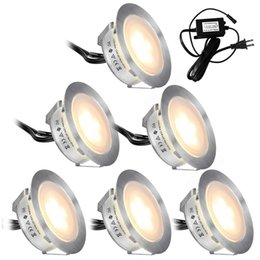 Dc Pack Australia - Recessed LED Deck Lights Kits 6 Pack In Ground Outdoor Waterproof IP67 Low Voltage LED Lights for Garden Yard Stair Patio Pool Deck