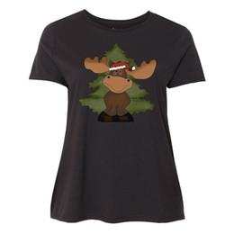 3cce4719 Inktastic Christmas Moose Tree Women's Plus Size T-Shirt Pine Merry Santas  HatFunny free shipping Unisex Casual Tshirt