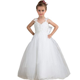 9974ef3da3f Shoulder Flower Girls Dresses Tulle Beaded Short Sleeves Princess Bow Kids  Formal Wear Toddler Girl s Pageant Dresses